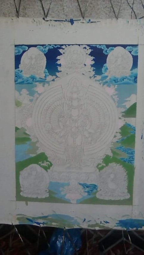 Coloring the Avalokiteshvara Thangka Painting