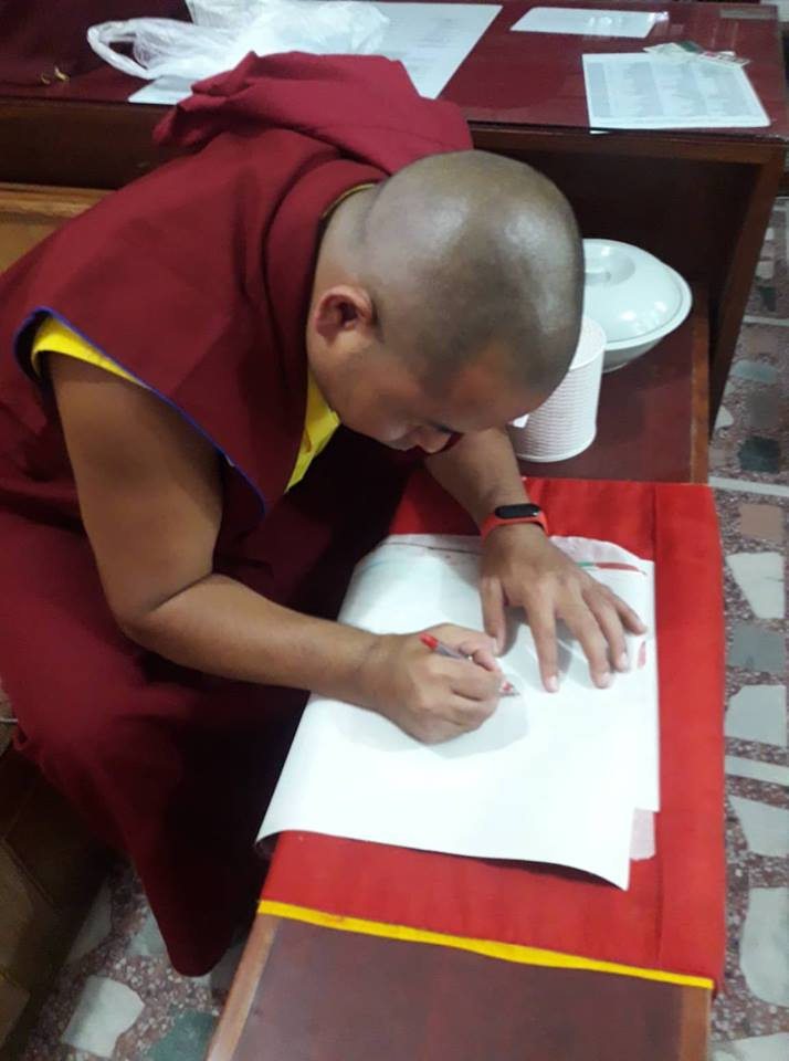 Thangka Consecration by Monk