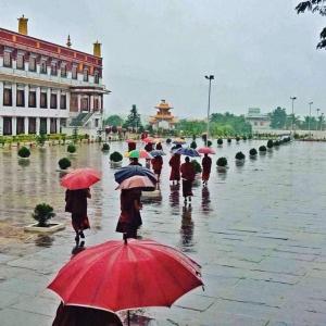 Monks in rainy season
