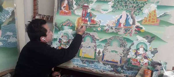 pema doing Thangka painting