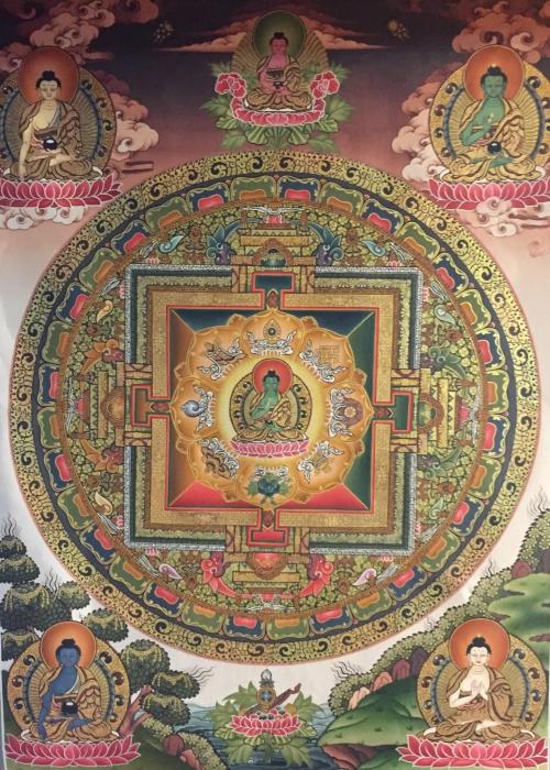 Medicine Buddha mandala with 5 Dhyani Buddhas