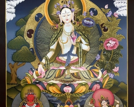 white-tara-Tibetan-thangka-painting