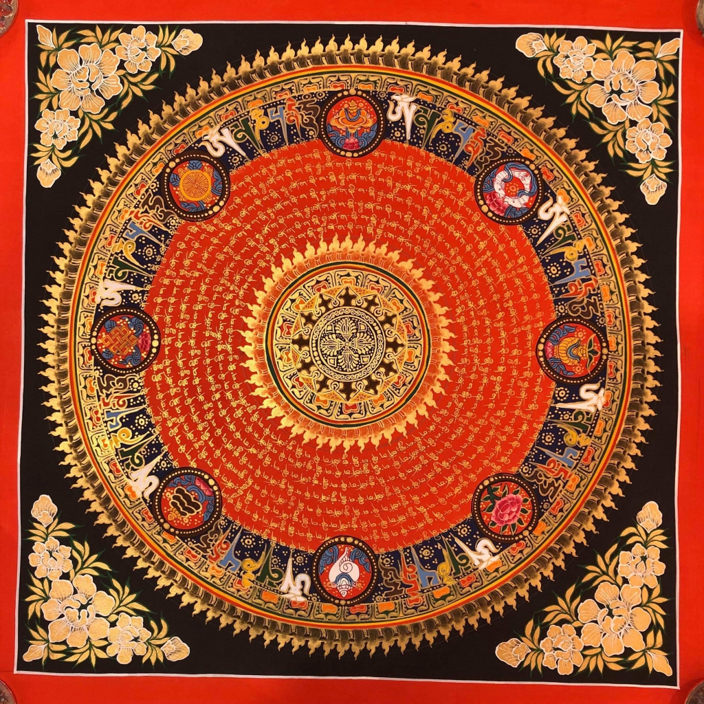 Om Mantra Mandala with 8 auspicious symbol