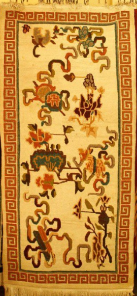 Tibetan Carpet with Auspicious Symbols