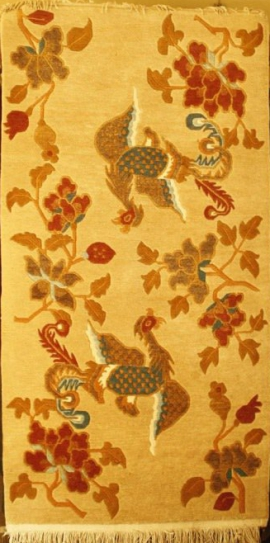 Tibetan carpet with 2 Phoenix and Flower