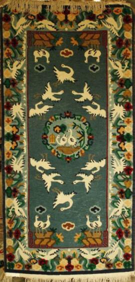 Tibetan carpet with crane design