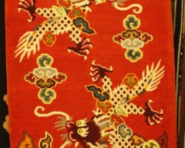 Tibetan carpet with flying dragon design