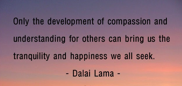 """Only the development of compassion and understanding for others can bring us the tranquility and happiness we all seek."""