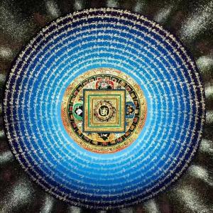 Om Mani Padme Hum Mandala Blue and white