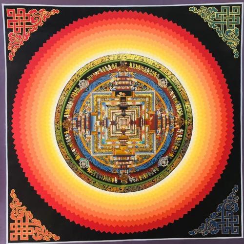 Kalachakra Mandala with endless knot in the corners