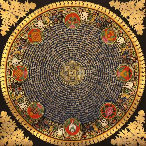 Mantra Mandala with Om in the center