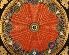 Auspicious symbol mantra mandala with om in center