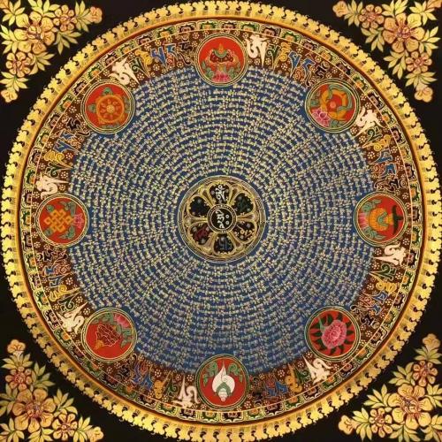 Om Mani Padme Hum Mandala with Auspicious symbol