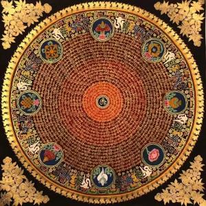 Mantra Mandala with Auspicious symbol