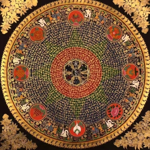 Mantra Mandala with 8 Auspicious symbol