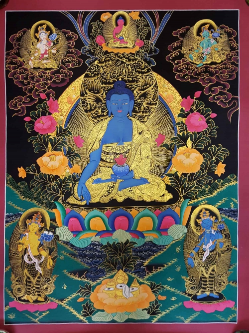 Medicine Buddha Mandala with White Tara and Green Tara