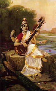 Saraswati is the Hindu goddess of knowledge, music, arts, wisdom and nature. She is a part of the trinity of Saraswati, Lakshmi and Parvati. All the three forms help the trinity of Brahma, Vishnu and Shiva in the creation, maintenance and destruction of the Universe.