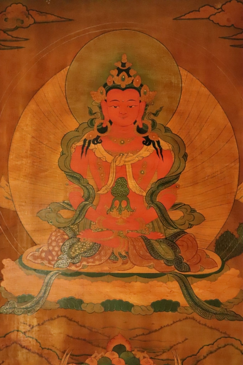 Amitayasu Buddha antique Thangka