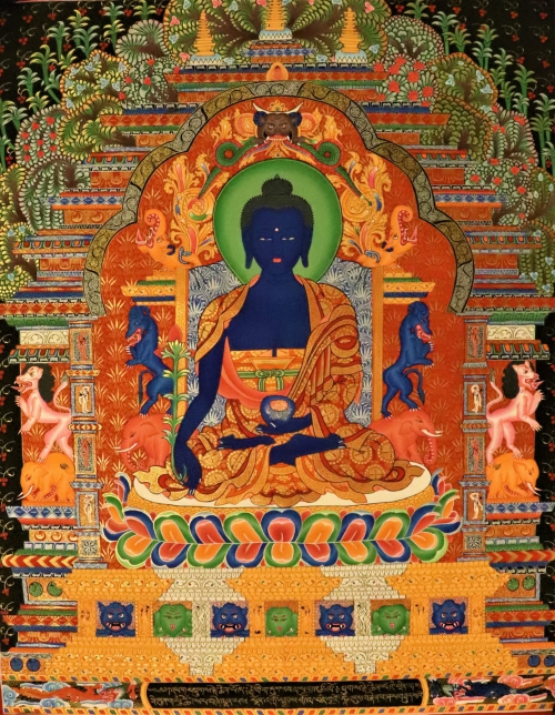 Medicine buddha Thangka scroll painting