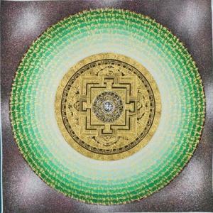 Green Mantra Mandala with Om