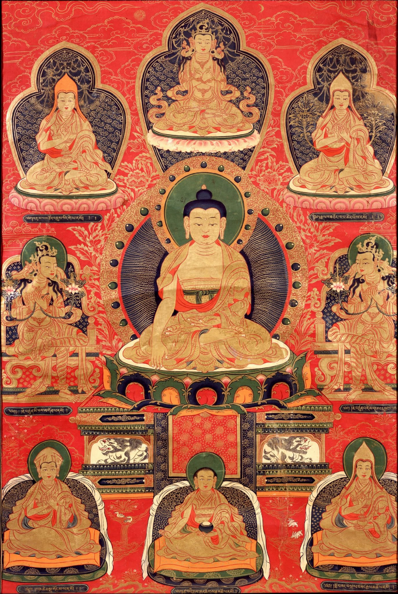Shakyamuni with Geluk Masters