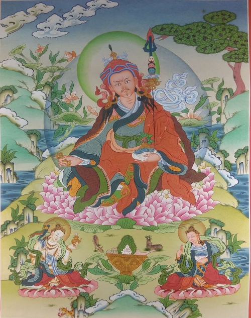 Guru Padmasambhava with Yeshe Tsogyal and Mandarava
