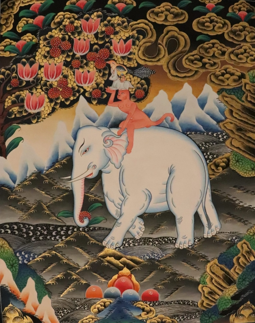 Four harmonious Friends Thangka