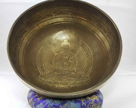 Bronze Virochana Buddha singing bowl