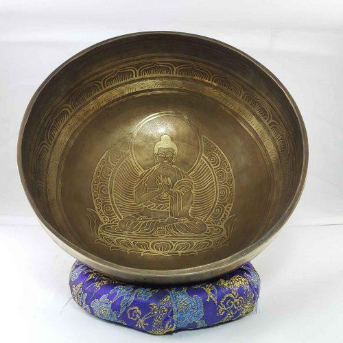 Bronze Virochana Buddha singing bowl