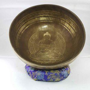 Bronze Ratnasambhava Buddha singing bowl