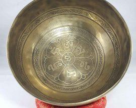 Bronze Singing Bowl with Om Mane Padme Hum