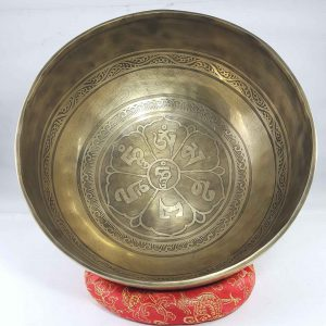 Bronze Singing Bowl with Om Mane Padme Hum