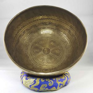 Bronze Om Mane Padme Hum singing bowl