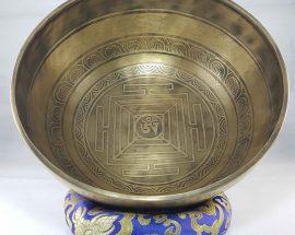 Bronze Om Mane Padme Hum singing bowl