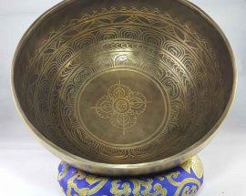 Bronze Double Dorje carved bowl