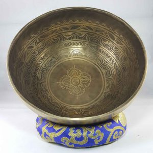 Bronze Double Dorje carved bowl