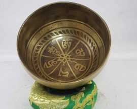 Carved Om Mane Padme Hum singing bowl