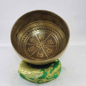 Carved Om Mane Padme Hum singing bowl