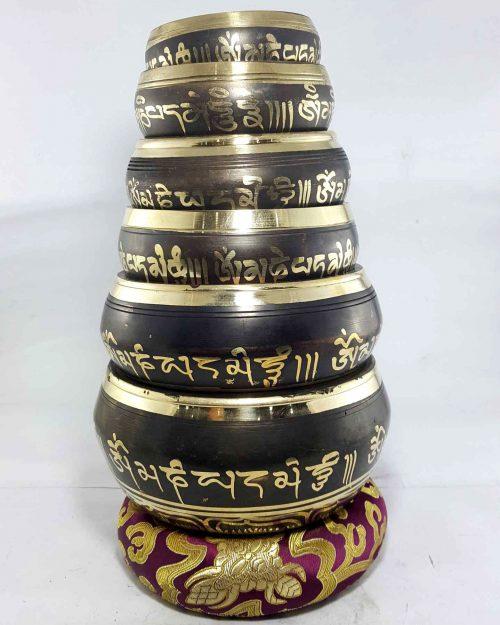 Singing bowl 6pcs Set Casting Brass etched Designs