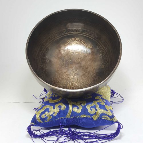 Therapeutic singing bowl with Etching and Carving