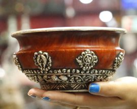 Wooden bowl with Sterling Silver Plate