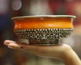 Dusted Amber  Phuru offering Bowl with Sterling Silver Plate
