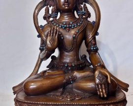 Bodhisattva Statue with Real Coral and Turquoise Stone Setting