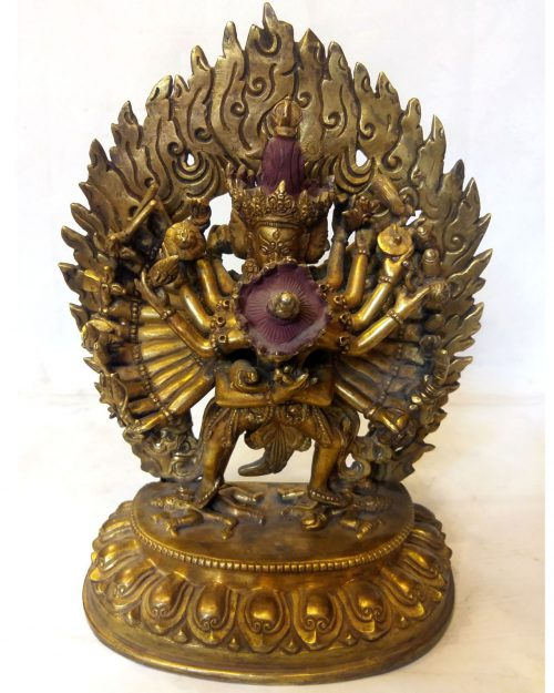 Kalachakra Statue with Consort- Full Fire Gold Plated with Antique Patina