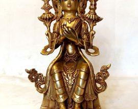 Maitreya Buddha Statue -Gold Painted Face Fire Gold Plating