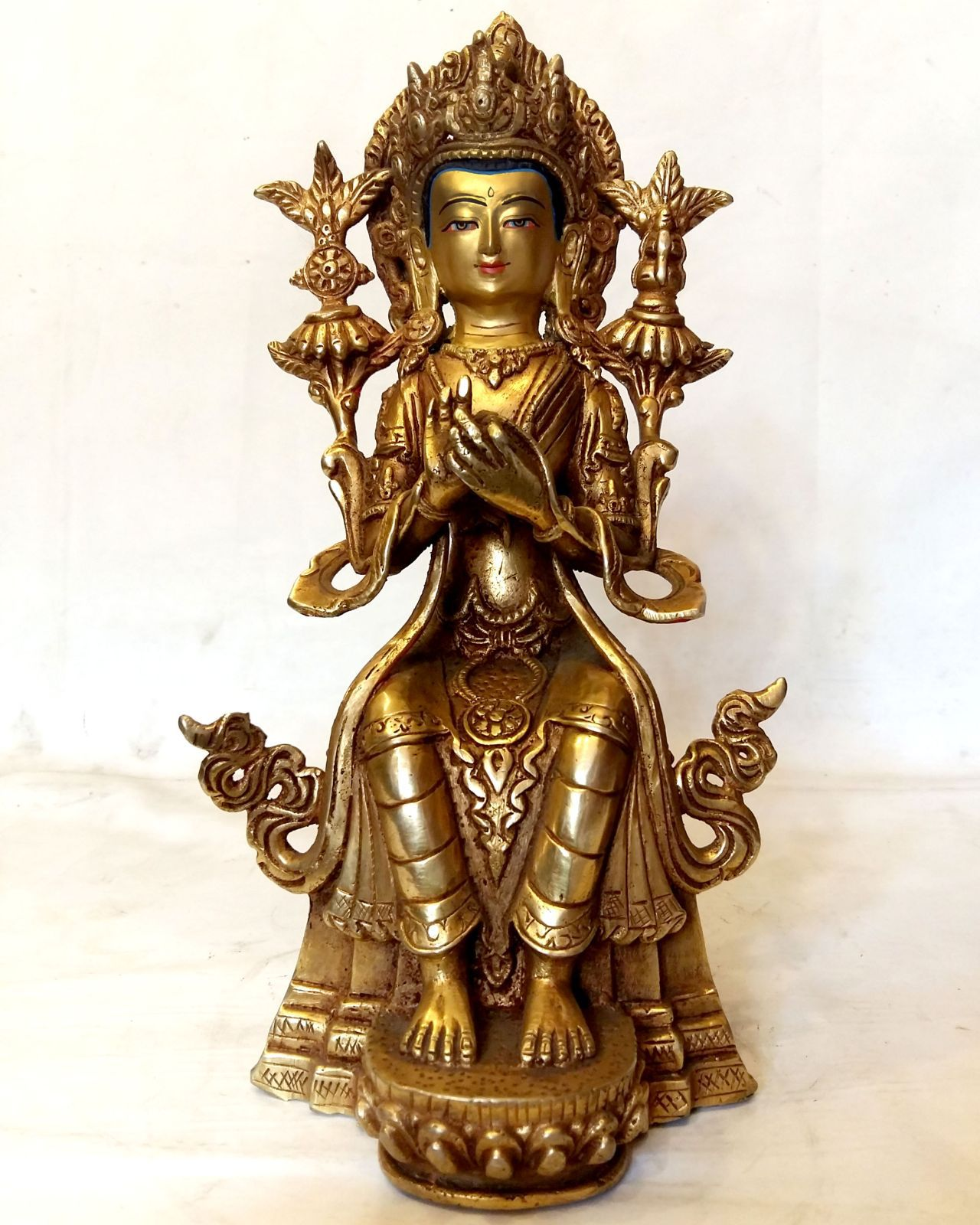 Maitreya Buddha Statue -Gold Painted Face Fire Gold Plating