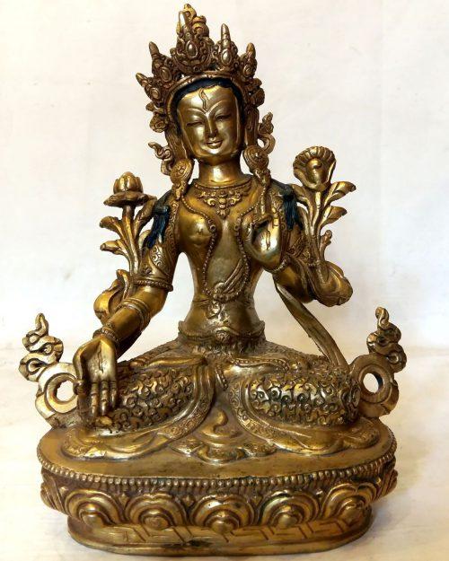 White Tara Statue - Full Fire Gold Plated