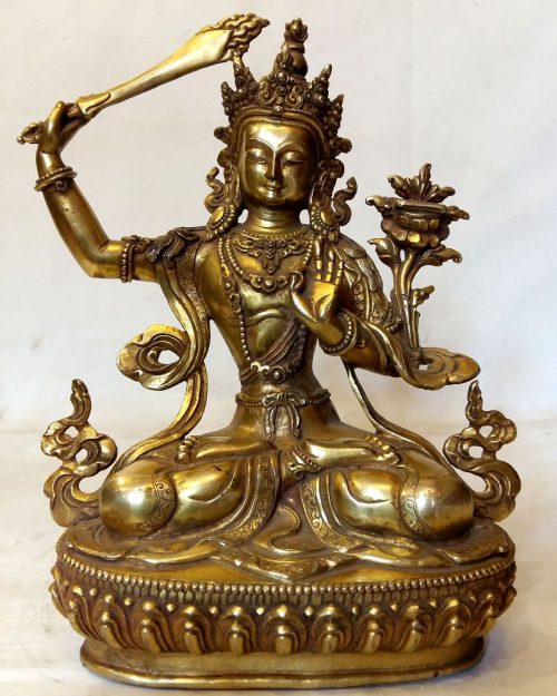 Manjushree Statue - Full Fire Gold Plated