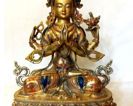 Chenrezig Statue- Full Fire Gold Plated with Painting