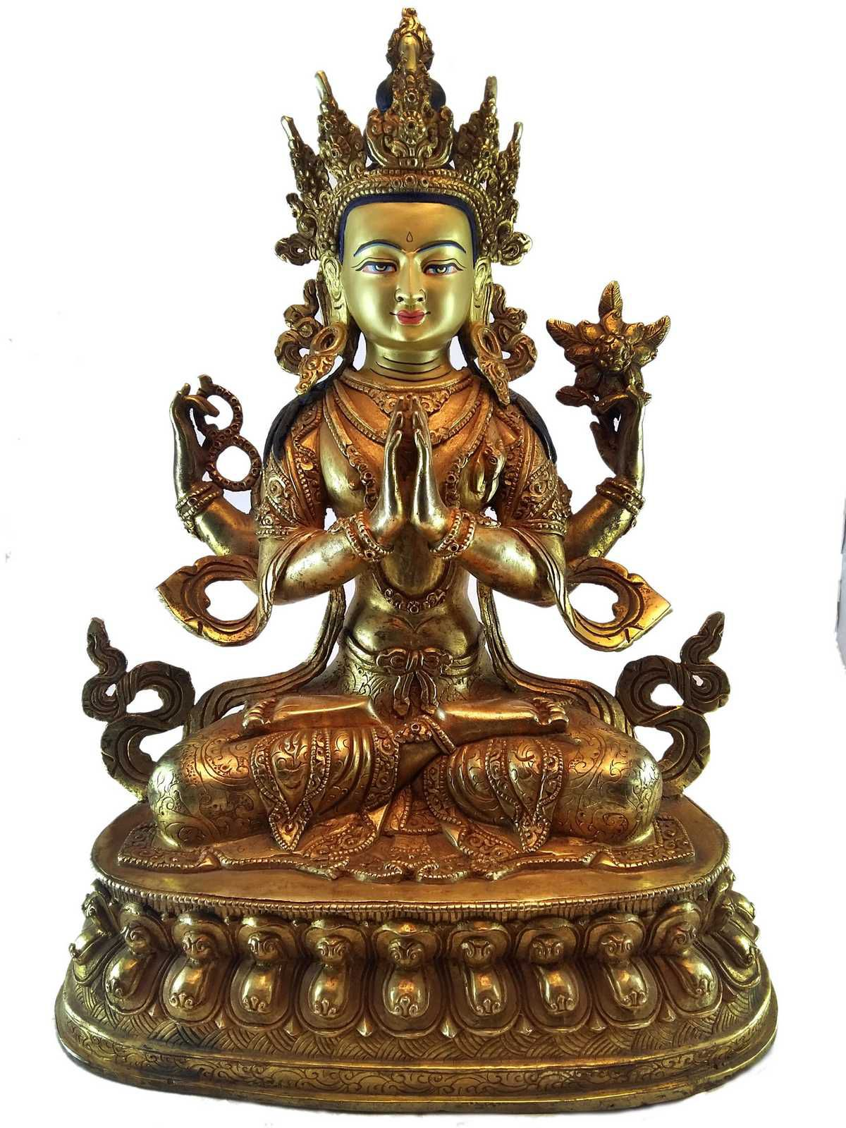 Chenrezig Statue Full Electro Gold Plated with Painted Face